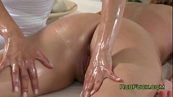 Amazing Blonde Oils Her Customer And Massages Her Pussy